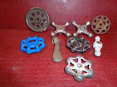 Antique & Vintage Cast Iron & Aluminum Brass Shut Valve Handles Steampunk Art #1