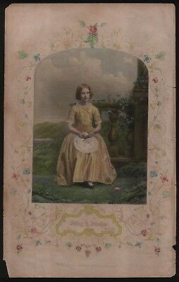 Large Colour English Engraving of Woman in Fancy Dress. 1870s Fashion. Rare