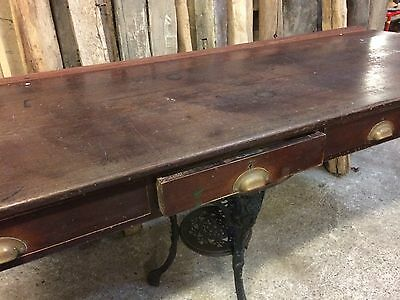 Vintage Store Counter Solid Mahogany Original Unrestored Desk Top With Drawers