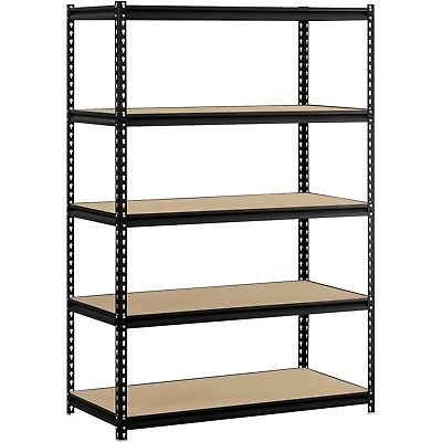 "Muscle Rack 48""W x 24""D x 72""H 5-Shelf Steel Shelving, Black Adjustable Shelves"