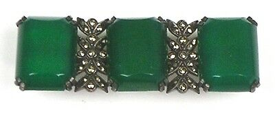 Antique Art Deco Sterling Chrysoprase Marcasite Bar Pin Top Quality RARE