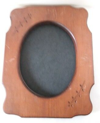 "Vintage Wood Picture Frame Carved Flower Vine 7"" x 9"""