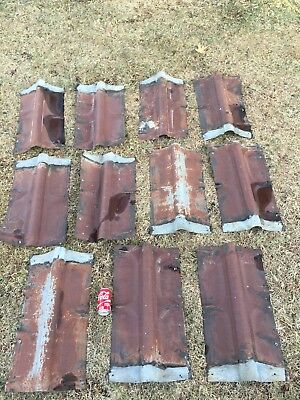 Vtg Lot 15 Rusty Barn Metal Galvanized Ridge Cap 1930s Kansas Barn Great Patina!