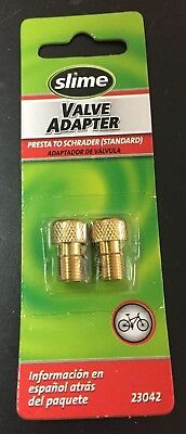SLIME Presta to Standard Schrader  Bicycle Valve Adapter Part # 23042 Pack of 2