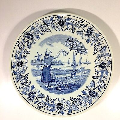 "Vintage Delfts Blue Boch Royal Sphinx Holland Wall Plate 8.5"" Dutch Girl Boats"