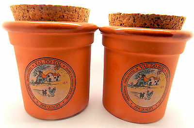 Portugese Val Do Sol Corked Terra Cotta Spice Jars/Set of 2
