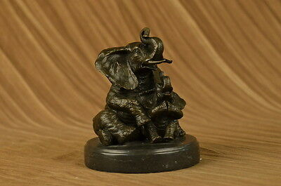 Hand Made bronze sculpture Decor Cub With Elephant Mother Laughing UG