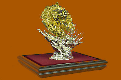 Hand Made 24K Gold Silver Plated Real Bronze Lion Head Bust Sculpture Figurine