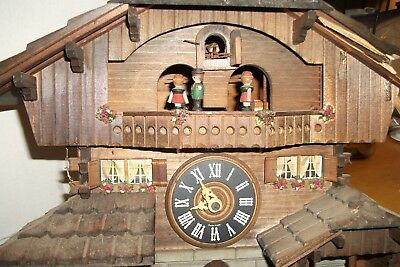 Vintage Cuendet Swiss Musical Movement Cuckoo Clock For Parts or Repair