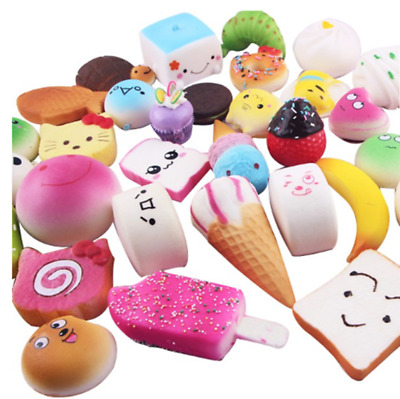 30PCS Kawaii Squishy Lot Toast Bread Smell Cell Phone Strap Jumbo Panda Bun Kit