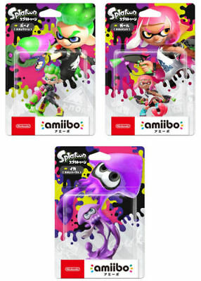 Amiibo Nintendo Splatoon 2 Girl Neon Pink & Boy Neon Green & Squid Neon Purple