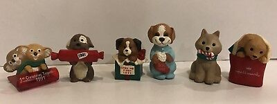 Lot 6 Hallmark Merry Miniatures Christmas Dog figurines 91 92 94