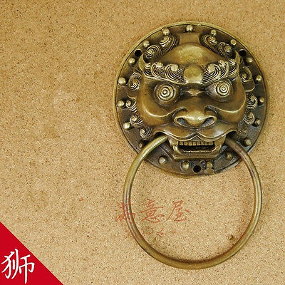 Chinese Folk Feng Shui Old Bronze Copper Foo Fu Dog Lion Head Door Knocker
