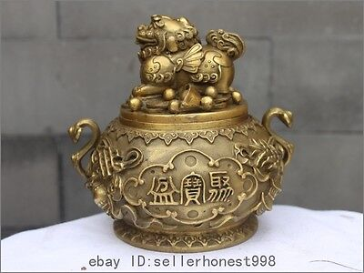 China Fengshui Brass Copper Foo Dog Lion mythical wild animal pot treasure bowl