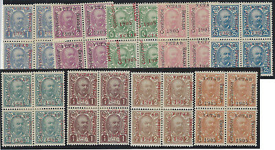 1906. Granting of Constitution. Fine mint blocks of 4. Mixed Type III / IV, 1906