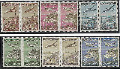 1947 (21 April). AIR. Yugoslav Landmarks. MNH set of six in SE-TENANT PAIRS**