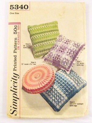 Vtg 60s Simplicity 5340 Smocked Pillow Mid Century Mod Round Square Rectangle FF