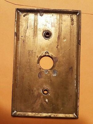 VINTAGE BRASS PUSH BUTTON Electric LIGHT SWITCH Plate Wall Antique Hardware sp04
