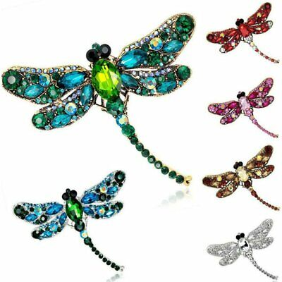 Women Retro Crystal Dragonfly Necklace/Brooch Pin Pendant Long Chain Jewelry Hot