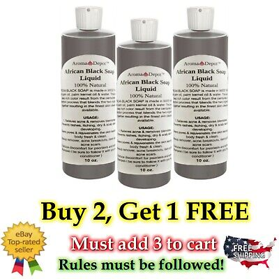AFRICAN BLACK SOAP Liquid 10 oz 100% Pure Authentic Raw From Ghana Natural
