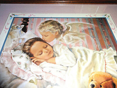 Home Interiors, Framed Print, sleeping girl with kiss from an angel, Lot #N5