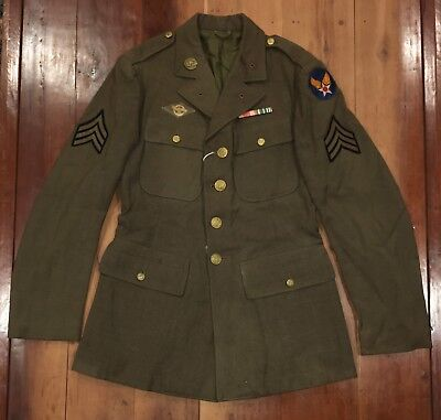 WWII US SERVICE JACKET ARMY AIR CORPS WW2 36R PATCHES & MEDAL RIBBON BAR force
