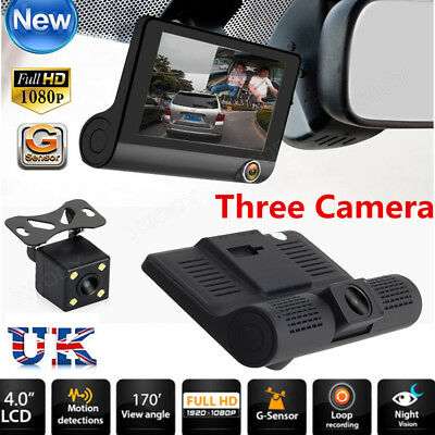 "4"" Dual Lens HD 1080P Car DVR Rearview 3 Cam Mirror Dash Vedio Recorder G-Sensor"