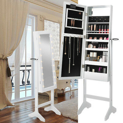 MIRROR JEWELLERY Cabinet With 18 LED Lights Makeup Jewelry Organizer