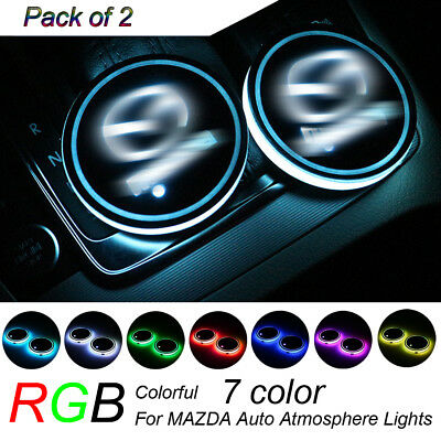 2Pcs RGB LED Car Cup Holder Pad Mat for MAZDA Auto Atmosphere Lights 7 Color