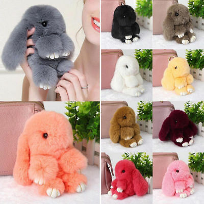 Adorable Fur Bunny Fluffy Rabbit Plush Toy Keyring Bag Charm Pendant Keychain ST