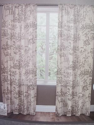 New JACLYN LOVE Signature 2 Rod Pocket Panels TOILE BELGIAN Natural