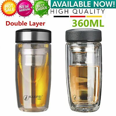 Double Layer Glass Coffee Water Bottle Cup Heat Resistant Insulated Tea FilterWB