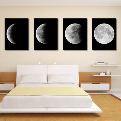 4Pcs Lunar Eclipse Moon Art Canvas Wall Painting Home Indoor Picture Paint Hot