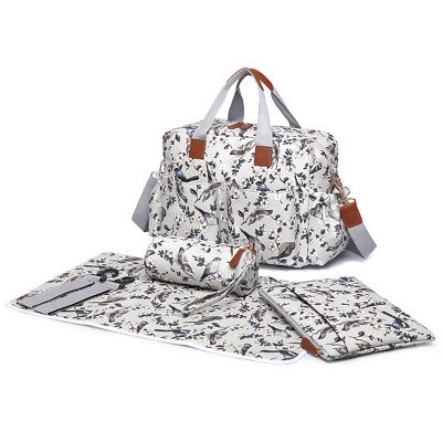 Gray Birds/Flower Baby Changing bag  Diaper Nappy Maternity Mummy Bag 4pcs