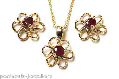 9ct Gold Ruby Daisy Pendant and Earring Set Made in UK Gift Boxed