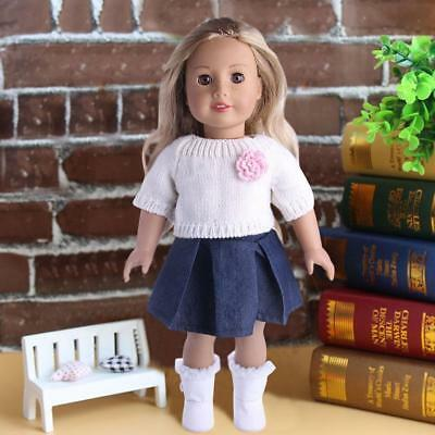 For 18 Inchs American Girl Our Generation Doll Sweater Dress 3 Pcs Clothes Set