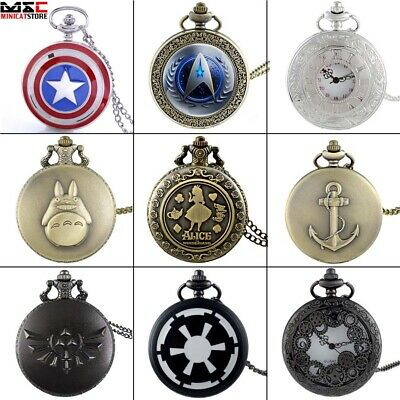 Vintage Steampunk Pocket Watch  Quartz Pendant Men Retro Design Necklace Gift