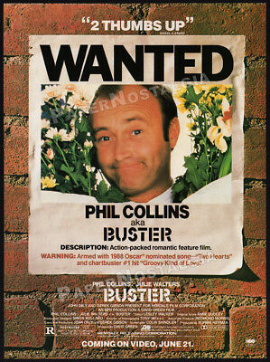 BUSTER__Original 1989 Trade print AD / movie promo__PHIL COLLINS__WANTED poster