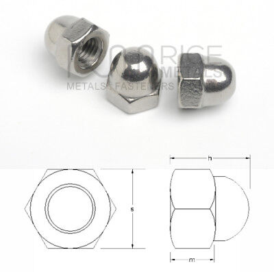 Hexagon Domed Nuts Stainless Steel Metric & Imperial Sizes