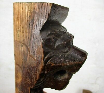 Pair Corbels Hand Carved Wood Panels Architectural reclaimed LIon Heads Trim