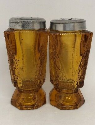 Antique Amber Glass Salt And Pepper Shakers.  Dot Diamond Pattern Square 10M