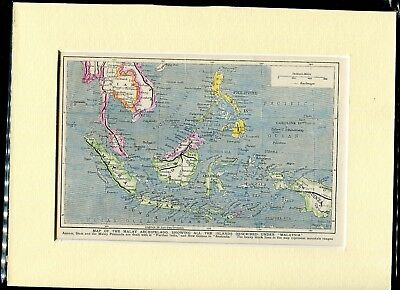 c1900 Hand Coloured & Mounted Map of the Malay Archipelago