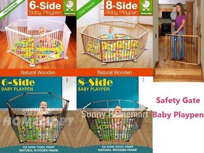 Baby Playpen Multi Sided Panel Interactive Kids Toddler Room W/ Safety Gate
