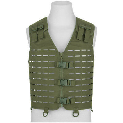 Mil-Tec Laser Cut Carrier Vest Airsoft Combat Gear Lightweight Adjustable Olive