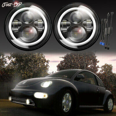 7inch ROUND LED Headlights Upgrade Hi/Low Beam round Kit for VW Beetle Classic