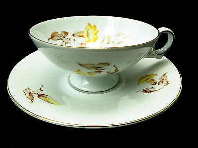 Hertel Jacob Bavaria China YELLOW MORNING GLORY Gold Brown Leaves CUP & SAUCER