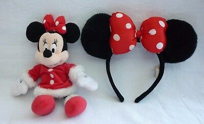 Disney Christmas Minnie Mouse red dress white fur trim Plush Soft toy and Ears