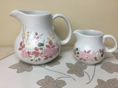Boots Hedge Rose 2 x Jugs Large Custard / Sauce Jug & Milk Jug
