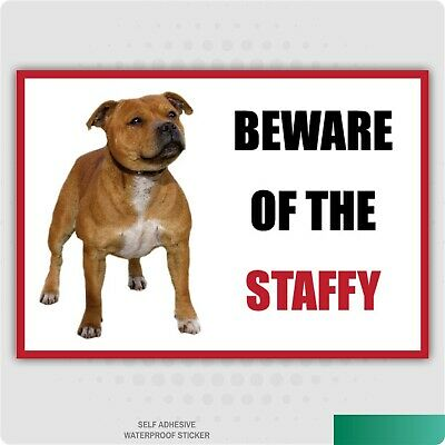 Funny Beware of the STAFFY Vinyl Car Van Decal Sticker Animal Lover