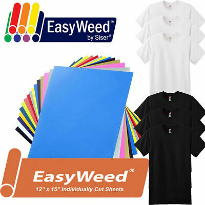 "12-Color  KIT 12"" x 15"" Siser Easyweed Heat Transfer Vinyl HTV + 6 Blank T-Shirt"